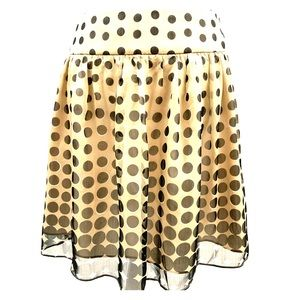 The Limited: Black and Creme Polka Dot Skirt